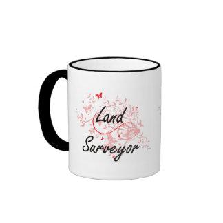 Land Surveyor Artistic Job Design with Butterflies Ringer Mug