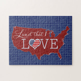 Land that I LOVE - US heart & flag Puzzle