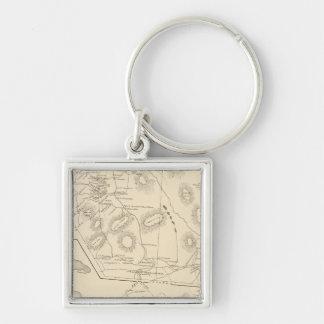 Landaff, Easton, Bristol Silver-Colored Square Keychain