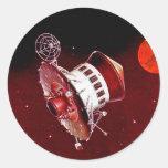 Lander retro 1967 de Sci Fi Marte del vintage Etiquetas Redondas