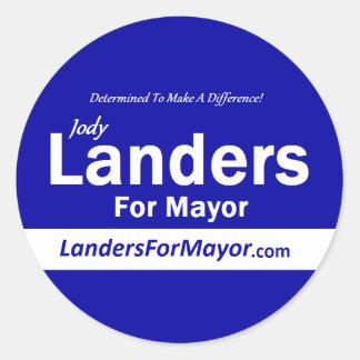 Landers para alcalde Stickers Pegatina Redonda
