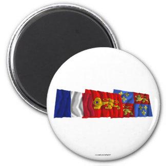 Landes, Aquitaine & France flags Fridge Magnets
