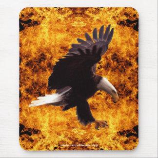 Landing Bald Eagle & Fire Wildlife Mousepad