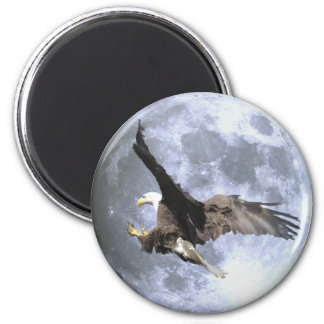 Landing BALD EAGLE & FULL MOON Wildlife Magnet