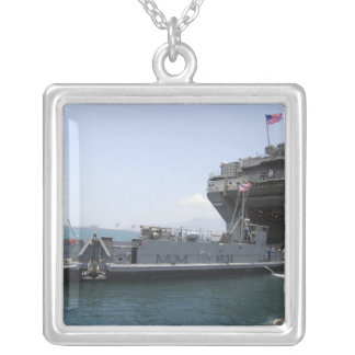 Landing Craft Utility moving into position Silver Plated Necklace