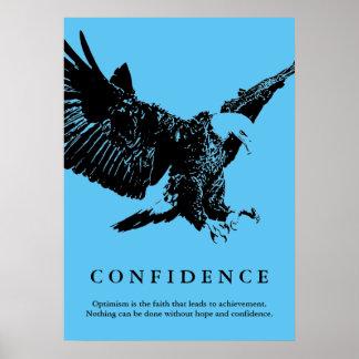 Landing Eagle Motivational Confidence Blue Poster