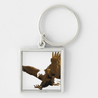 Landing Eagle Silver-Colored Square Keychain