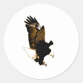 Landing Eagle Round Stickers
