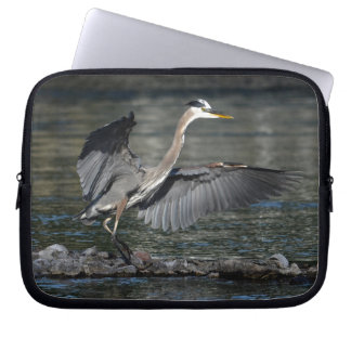 Landing Great Blue Heron Wildlife Bird Photo 3 Laptop Sleeve