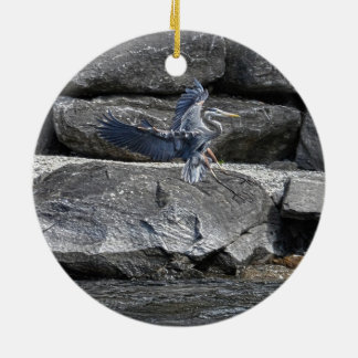 Landing Great Blue Heron Wildlife Birdlover Photo Christmas Ornaments