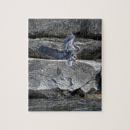 Landing Great Blue Heron Wildlife Birdlover Photo Jigsaw Puzzle