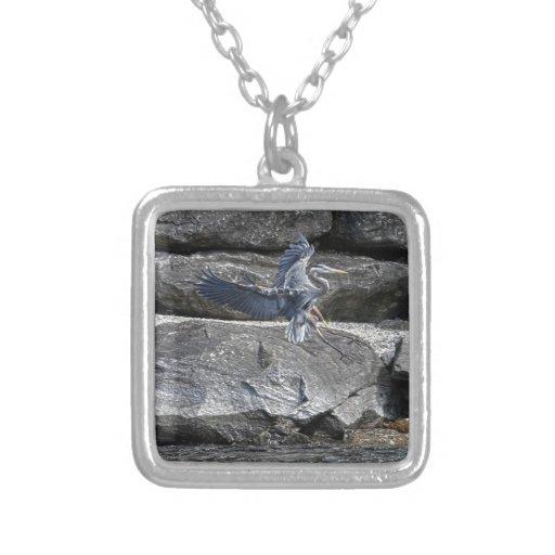 Landing Great Blue Heron Wildlife Birdlover Photo Personalized Necklace