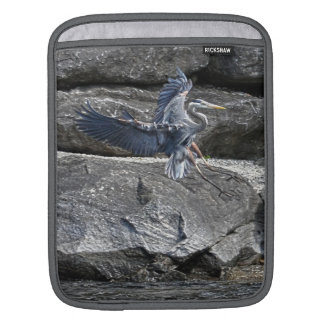 Landing Great Blue Heron Wildlife Birdlover Photo Sleeve For iPads