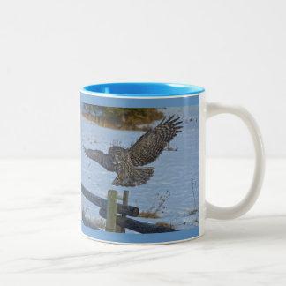 Landing Great Gray Owl and Snow Wildlife Raptor Two-Tone Coffee Mug