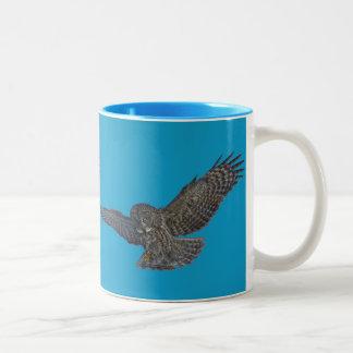 Landing Great Grey Owl & Blue Sky Wildlife Raptor Two-Tone Coffee Mug