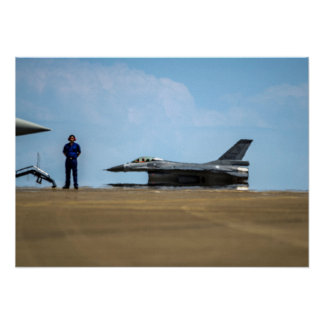 Landing in Summer Heat ROCAF Fighter Jet Aircraft Poster