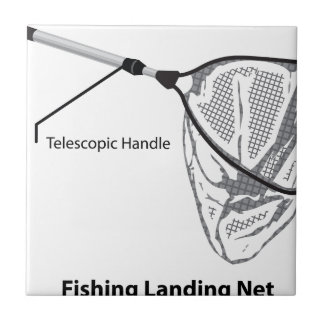 Landing net for fishing illustration marked ceramic tile