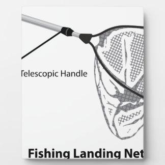 Landing net for fishing illustration marked plaque