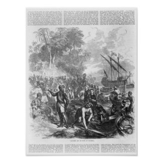 Landing of De Soto in Florida Poster