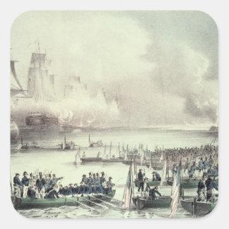 Landing of the American Force at Vera Cruz Square Sticker