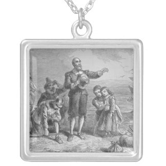 Landing of the Pilgrims, 1620 Silver Plated Necklace