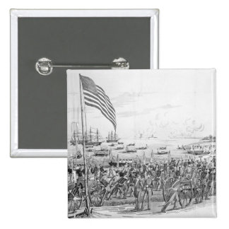 Landing of the Troops at Vera Cruz, Mexico 2 Inch Square Button