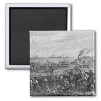 Landing of troops on Roanoke Island 2 Inch Square Magnet