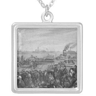 Landing of troops on Roanoke Island Silver Plated Necklace