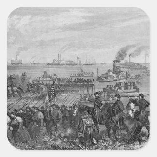 Landing of troops on Roanoke Island Square Sticker