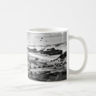 Landing Ships Putting Cargo Ashore on Omaha Beach Classic White Coffee Mug