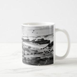 Landing Ships Putting Cargo Ashore on Omaha Beach Coffee Mug
