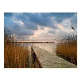 Landing stage on a lake postcard