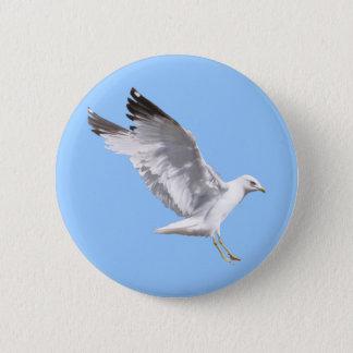 Landing White Sea Gull Wildlife Birdlover Gift Button