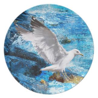 Landing White Sea Gull Wildlife Birdlover Gift Melamine Plate