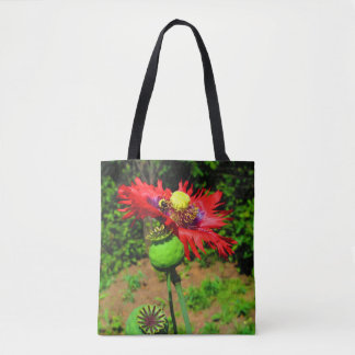 "Landing Zone ""bee gathering stamen"" Tote Bag"