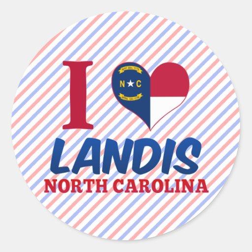Landis, North Carolina Round Stickers
