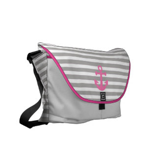 landlord nautical with pink anchor courier bag