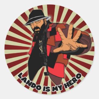 Lando es mi héroe pegatina redonda