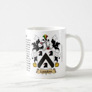 Landon, el origen, el significado y el escudo taza de café