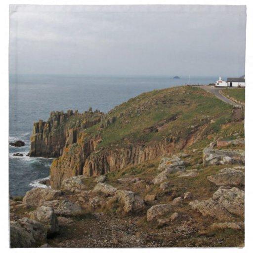 Land's End el punto más occidental de Reino Unido Servilleta Imprimida