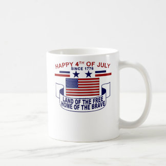 LANDS OF THE FREE HOME OF THE BRAVE HAPPY 4TH JULY COFFEE MUG