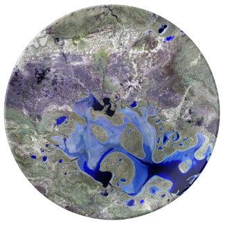 Landsat 7 Lake Carnegie Porcelain Plate