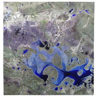 Landsat 7 Lake Carnegie Printed Napkins