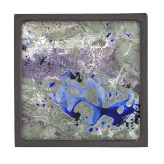 Landsat 7 Lake Carnegie Premium Jewelry Boxes