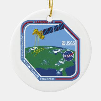 Landsat 7  Program Logo Double-Sided Ceramic Round Christmas Ornament