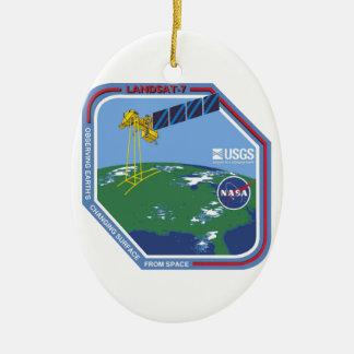 Landsat 7  Program Logo Double-Sided Oval Ceramic Christmas Ornament