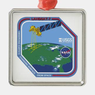Landsat 7  Program Logo Square Metal Christmas Ornament