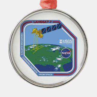 Landsat 7  Program Logo Round Metal Christmas Ornament