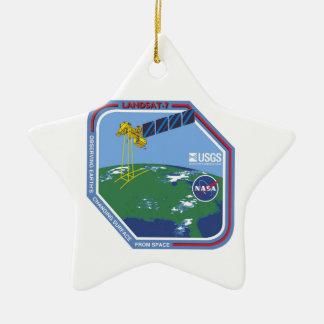 Landsat 7  Program Logo Double-Sided Star Ceramic Christmas Ornament