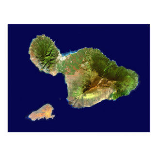 Landsat Satellite Image of Maui from Space Postcard